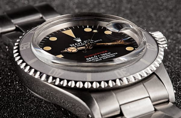Rolex 'Red Submariner' 1680 with date and magnifying lens
